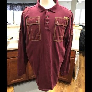 Coogi Military Style L/S Polo Dark Red Cotton